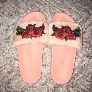 Pink Floral Slides